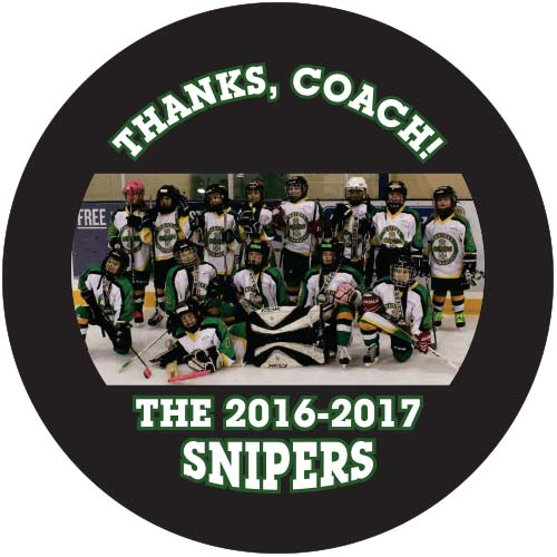 team picture printed puck